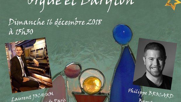 Concert de Noël, Orgue et Baryton, entrée libre, dimanche 16 décembre 2018 à 15h30, église Saint-Martin, route de Saint-Malo à Rennes.